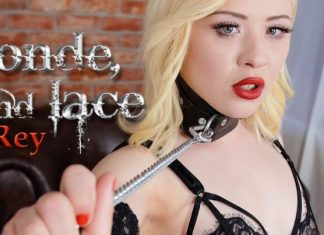 Lone blonde, chains and lace