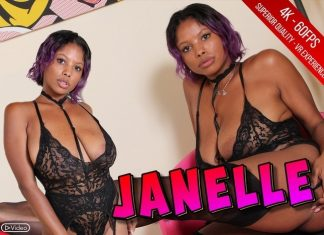Sexy Janelle Plays With A Maxi Dildo In Black Stockings