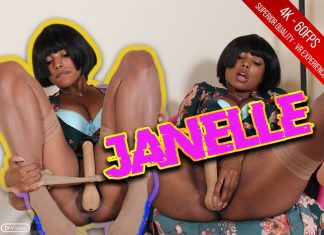 Janelle Dressed In A Cosplay Chinese Costume With Anal Dick In Nude Stockings
