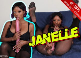 Hottie Janelle Plays With Pink Double Dildo In Black Nylons