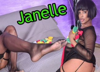 Jaw-Droppingly Sexy Janelle Tries On Different Pairs Of Hold-Ups