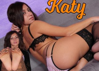 Irresistible Katy Tries On Two Pairs Of Brand-New Stockings